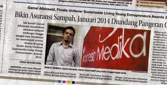 Gamal Albinsaid Finalis Unilever Living Young Entrepreneurs Award 2013