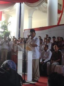 Prabowo Pidato Menolak Rekapitulasi KPU